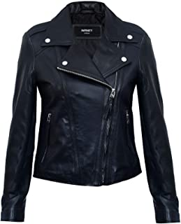 Ladies Womens Black Real Leather Fitted Vintage Biker Style Zip Fashion Jacket