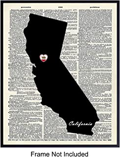 California State Map Upcycled Dictionary Wall Art Print - 8x10 Vintage Unframed Photo - Makes a Great - Chic Home Decor