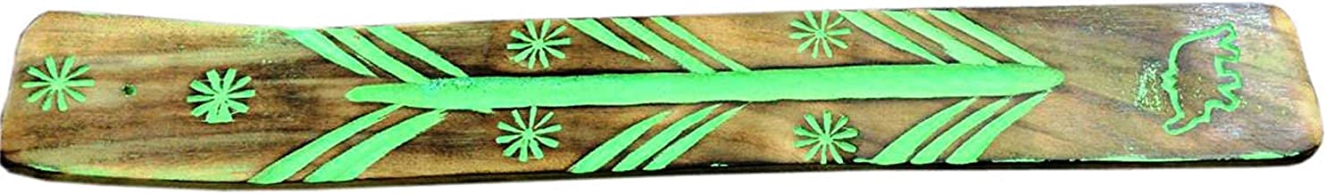 raajsee Handmade Wooden Brown Incense Stick Holder Burner with Green Hand Painted Pattern/Ash Catcher/Great Gift for Any O...