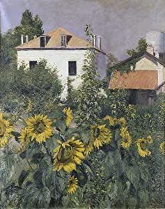 Berkin Arts Gustave Caillebotte Giclee Canvas Print Paintings Poster Reproduction(Sunflowers Garden at Petit Gennevilliers) #XFB