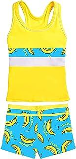 Choomomo Kids Girls Swimsuits Summer Two Pieces Athletic Boyshort Tankini Swimwear Bathing Suit