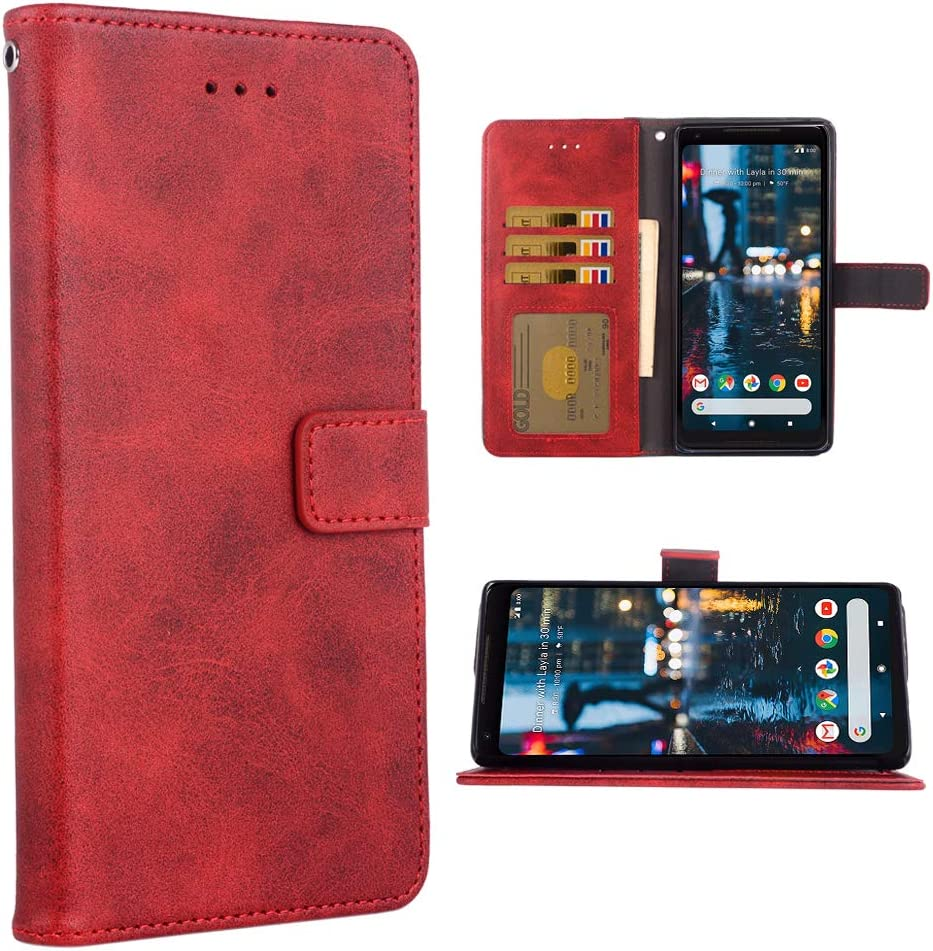 Phone Case for Google Pixel 2 Folio Flip Wallet Case,PU Leather Credit Card Holder Slots Full Body Protection Kickstand Hard Hybrid Protective Phone Cover for Pixel2 Pixle Two G011A Women Red
