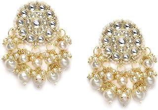 Zaveri Pearls Gold Tone Kundan & Pearls Wedding Collection Dangle Earring For Women-ZPFK10097