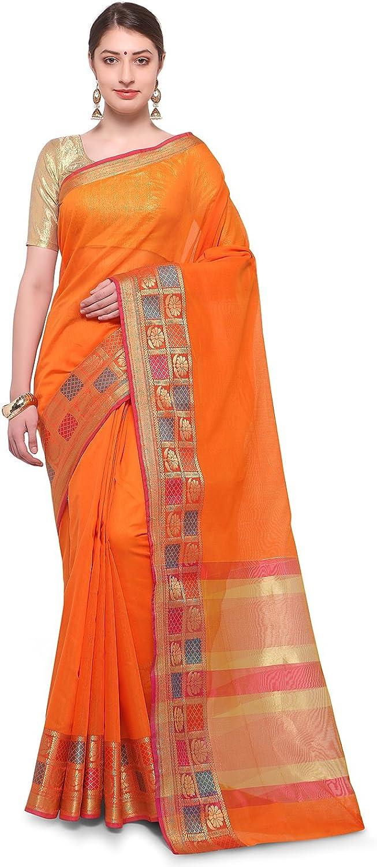 Varkala Silk Sarees Women Blended Cotton saree (TD1203OR_orange_Freesize)