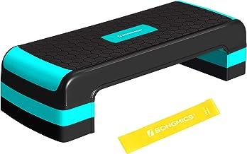 SONGMICS Stapplank voor aerobics, stepper met weerstandsband, in hoogte verstelbaar (10/15/20 cm) platform, stepbench voor...