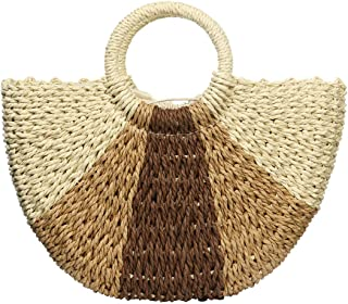 Large Straw Tote Bag Straw Summer Beach Bag for Women Travel Straw Handbag Rattan Retro Straw Purse