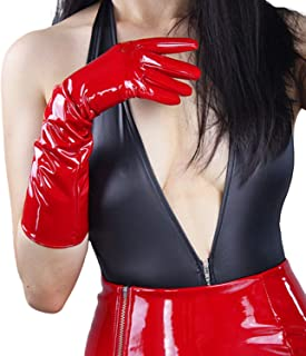 Shine Red Gloves Faux Patent Leather Wrist Long Cosplay Costume Women Gloves