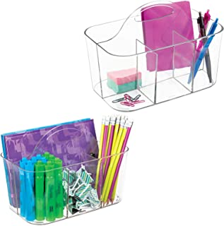 mDesign panier de salle de bain à poignée (lot de 2) – rangement cosmétiques, cuisine ou range-torchons – petite boîte de ...