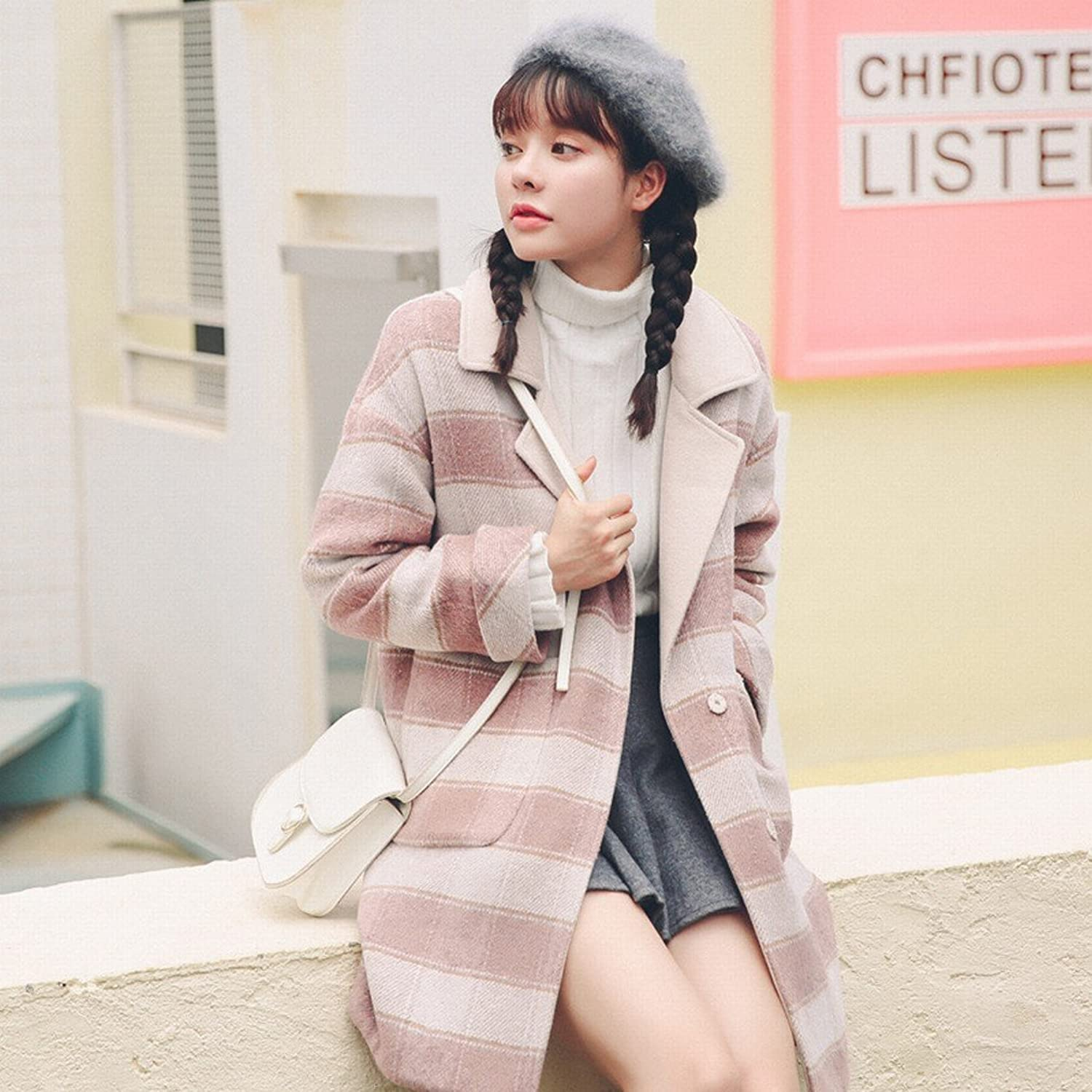 DEED Women's CoatAutumn and Winter Women in The Long Section of Students Plaid Wool Coat Thick Coat