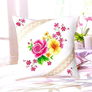 DOMEI Floral Design Cushion Cover Stamped Cross Stitch Kit, 18.1 x 18.1 inches