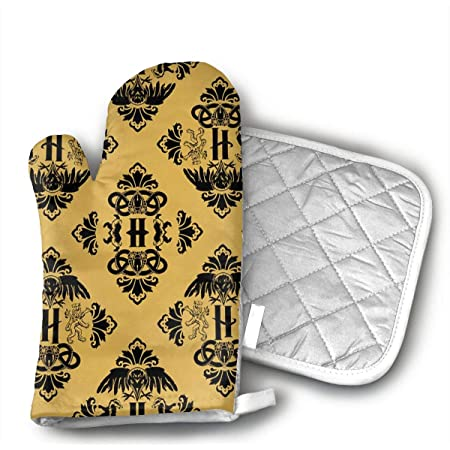 Magic Houses of Potter Oven Mitts and Potholders (2-Piece Sets) - Kitchen Set with Cotton Heat Resistant,Oven Gloves for BBQ Cooking Baking Grilling