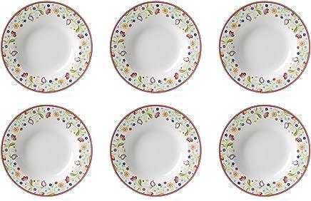 Preisvergleich für Flirt by R&B 018653 'Doppio Shanti' Suppenteller mit Paisley-Muster, Ø 22cm, Porzellan, weiß/rot/grün (6er Pack)