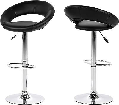 AC Design Furniture Conjunto de 2 Taburetes de Bar  Cuero Sintético,  Negro, 82-103 cm