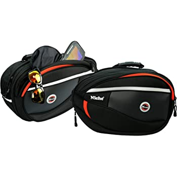 Universal Type NMO-2206 Expandable and Waterproof Motorcycle Side Bag Panniers Niche 2Pcs Black Motorcycle Saddlebags for Sports Bike and Street Bike