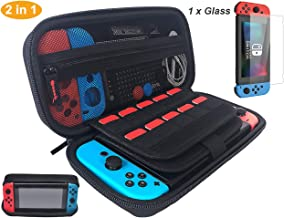 Nintendo Switch Case with Screen Protector Holds 20 Games, Game Case for Nintendo Switch Console & Accessories, Black