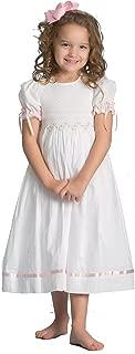 Girls Smocked Dress Summer Dress Flower Girl Birthday Portrait White Pink