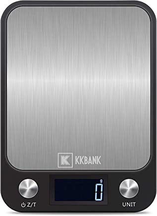 KKBank Digital Kitchen Scale Multifunction Food Scale, 11 lb 5 kg, Stainless Steel (Batteries Included)