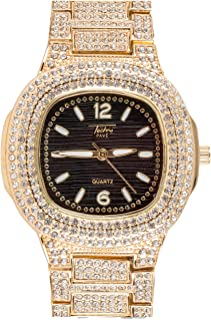 Mens Bling-ed Out Rounded Square Watch with Black Dial and Simulated Lab Diamonds