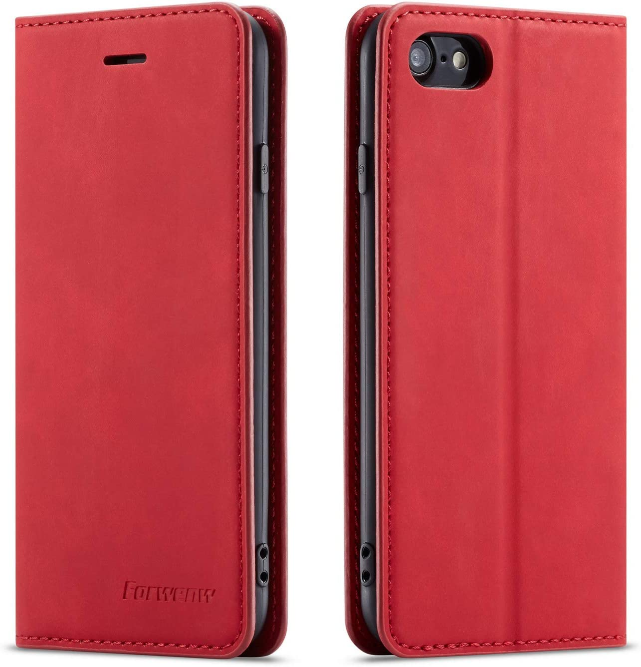 QLTYPRI Case for iPhone 7 iPhone 8 iPhone SE 2020, Premium PU Leather Cover TPU Bumper with Card Holder Kickstand Hidden Magnetic Adsorption Flip Wallet Case Cover for iPhone 7 8 SE 2020 - Red