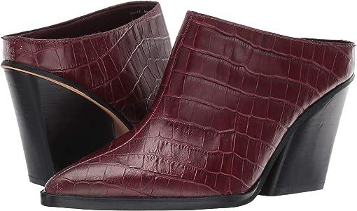Burgundy Croco Print Leather
