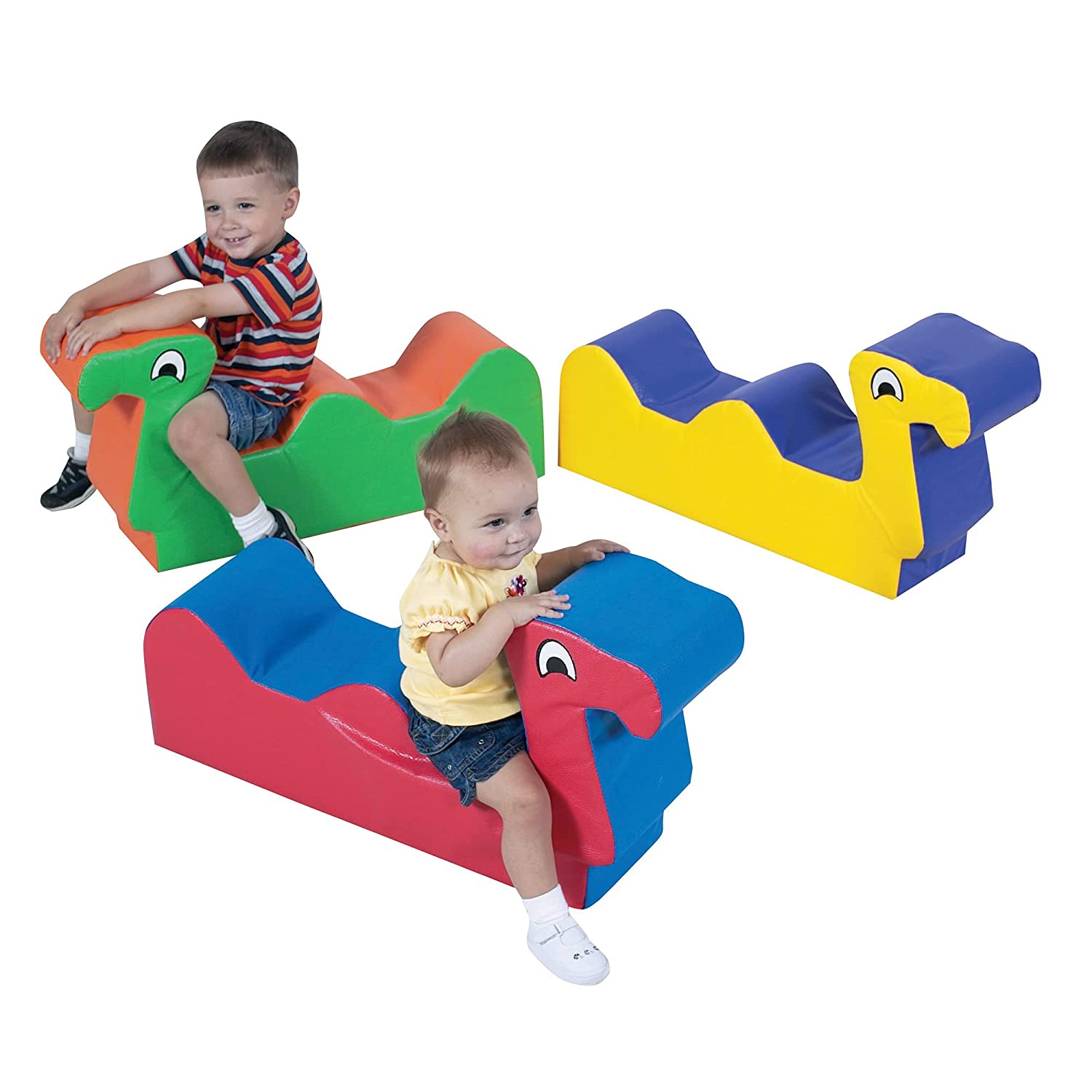 Children's Factory Nessie Family - Set of 3, Toddler/Infant Ride On Toys for 1-2 Year Old, Indoor Soft Play Equipment for Daycare/Classroom, Multi