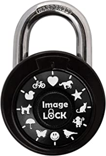 Combination Lock with Pictures- ImageLOCK–Patented Non Reset Combination Lock (No Administrative Key) – Pictures Instead of Numbers –Double-Reinforced Stainless Steel Lock - Black & White