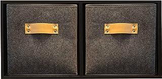 Functional Modern - Storage Bins - Storage Cubes - Closet Storage - 2 Pack - Dark Gray Felt - 11 Inches High