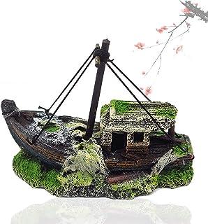 1.08 Pulgadas OKBY Resina para Decoraciones de naufragio de Acuario 1.23 Adorno de naufragio de Barco de Guerra de Acorazado de Acuario para Accesorios de pecera 10.62