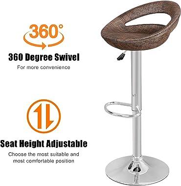 Pub Swivel Barstool Patio Barstool Adjustable Height Pub Chairs Hydraulic Indoor/Outdoor Barstools Modern Sleek Style, Set of