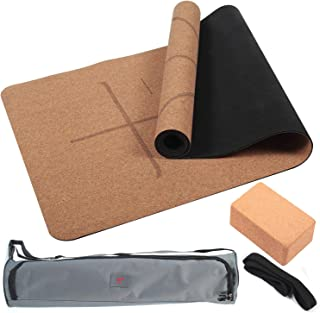 "4PCS Eco-friendly Cork Yoga Mat Set Non-slip Organic Cork & Natural Rubber w/3inch Cork Block&Yoga Strap&Yoga bag For Hot Yoga Gymnastics Aerobicsw 72""LX24""W 4mm Non-Toxic Latex Free Gym Exercise Mat"
