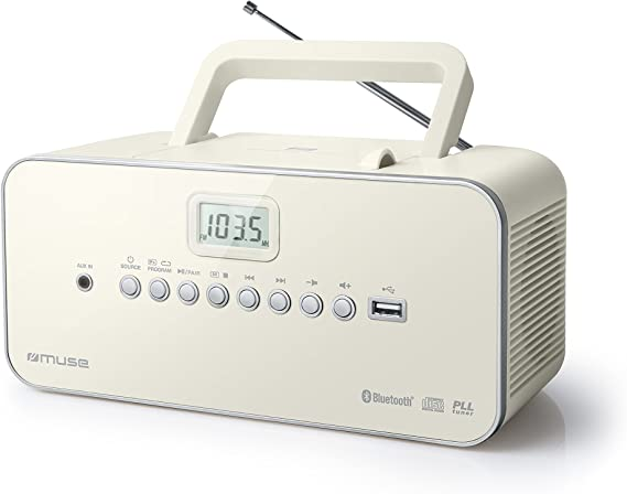 Muse 30 Btb Portable Radio Cd Mp3 Usb With Bluetooth Function Memory Mains Or Battery Operated White Home Cinema Tv Video
