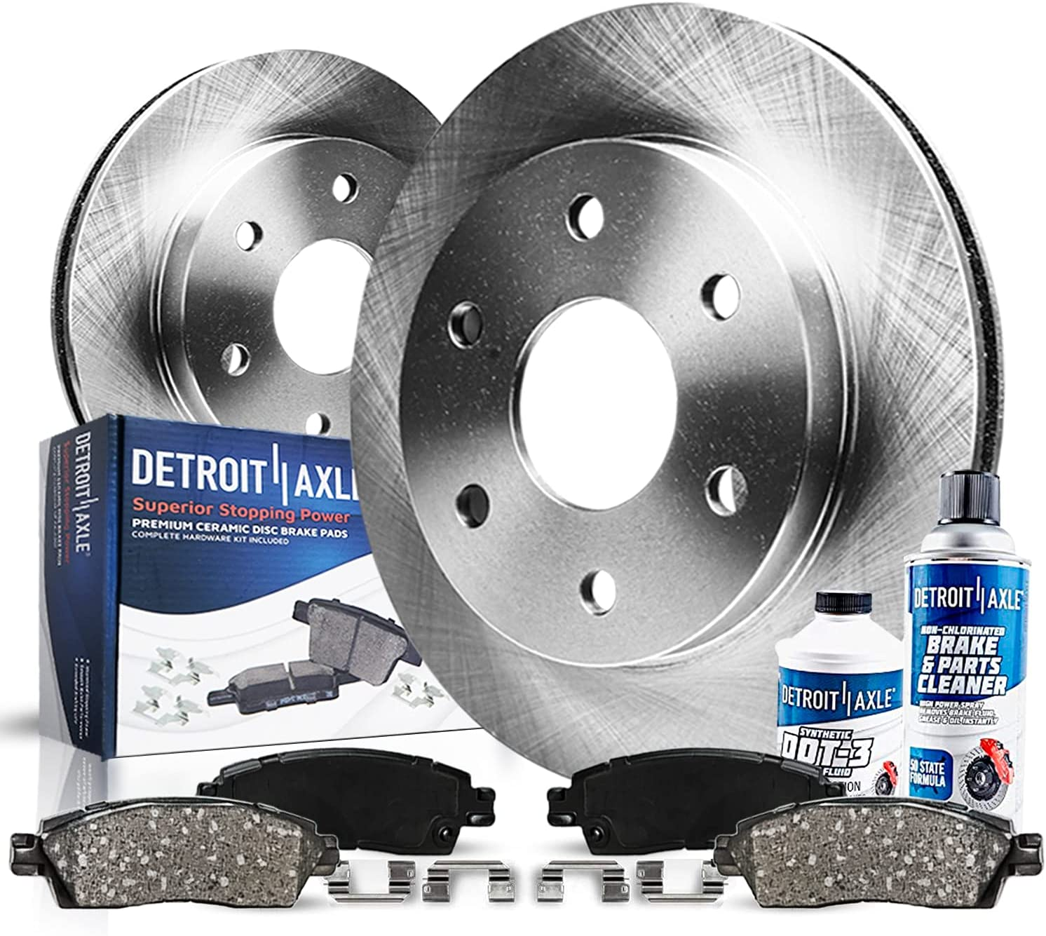 Limited time trial price Detroit Axle - Excellent FRONT Brake Ceramic Kit w Rotors Pads