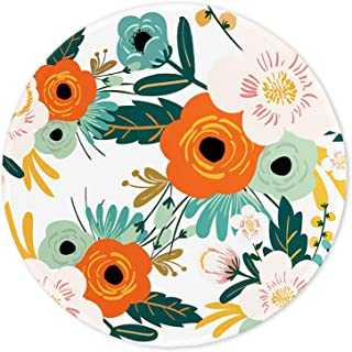 ITNRSIIET Mouse Pad, Orange Flowers Pattern Design Round Mousepad. Customized Gaming Mousepads for Laptop and Computer. Cute Design Desk Accessories. Non-Slip, Stitched Edges, Waterproof