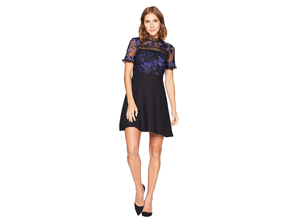 CeCe Imogen Short Sleeve Floral Mesh Sheath Dress (Rich Black) Women