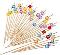 """PuTwo Cocktail Picks 4.7"""" Handmade Multicolor Appetizer Bamboo Toothpicks 100ct Multicolor"""