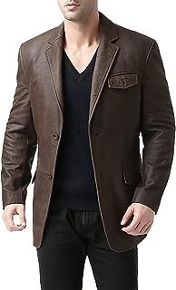 BGSD Men's Brown Leather Blazer 2-Button Cowhide Sport Coat Jacket