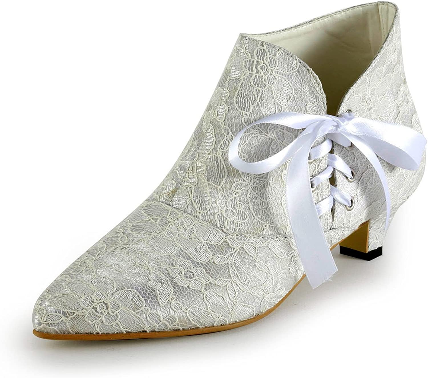 Minitoo TH12122 Women's Fashion Kitten Heel Lace Bridal Wedding Ankle Boots