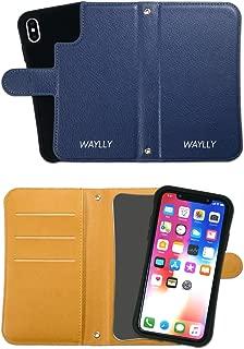 iPhone X ケース iPhone XS ケース どこでもくっつくケース WAYLLY(ウェイリー) アイフォンXケース アイフォンXSケース 着せ替え 耐衝撃 米軍MIL規格 [専用ミラー付き手帳型ケース ネイビー] セット MK