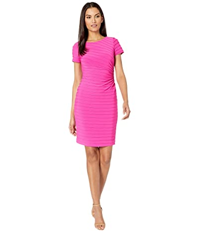 Adrianna Papell Matte Jersey Pintucked Draped Dress (Hot Pink) Women