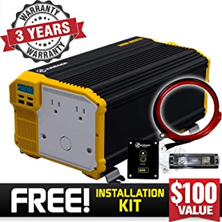 Krieger 3000 Watt 12V Power Inverter Dual 110V AC Outlets, Installation Kit Included, Back Up Power Supply Perfect for an Emergency, Hurricane, Storm or Outage - MET Approved to UL and CSA Standards