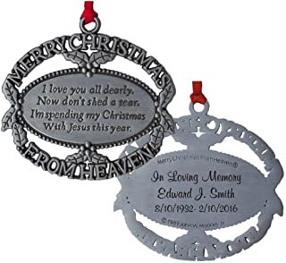 Custom Engraved Merry Christmas From Heaven Ornament, Poem Card, Gift Box