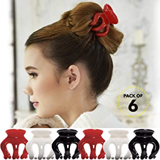 RC ROCHE ORNAMENT 6 Pcs Womens Pumpkin Hair Secure No Slip Grip Claw Clips Styling Plastic Strong Durable Comfortable Hold Premium Quality Beauty Accessory Girls, Medium Red White and Black