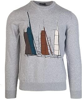 Z Zegna Men's Grey Boat Graphic Crew Neck Long Sleeve Sweater RTL$310