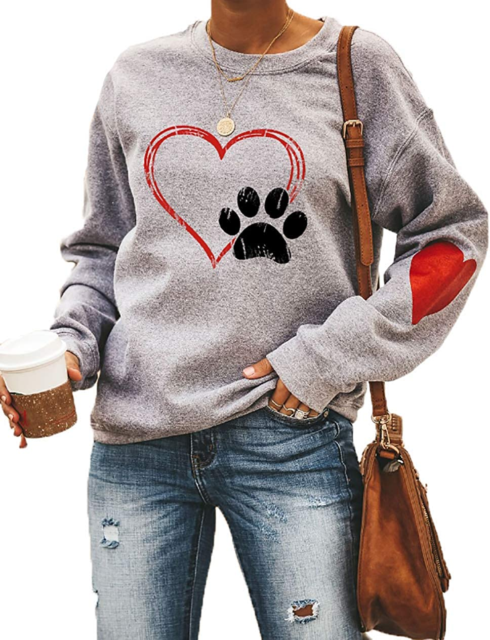 Love Heart Dog Paw Print Sweatshirts Women Long Sleeve Pullover Tops Casual Blouse