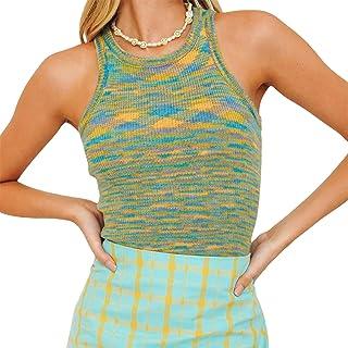 Camiseta corta de mujer de punto acanalado Tie-Dye Y2k con espalda de remo, sin mangas, estilo E-Girl multicolor