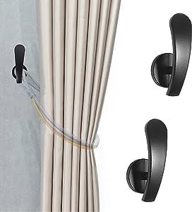 Curtain Holdback, 2pcs Wall Mounted Hooks Drapery Tiebacks with Screws, Decorative Drapery Metal Hook Wall Hanger, Black