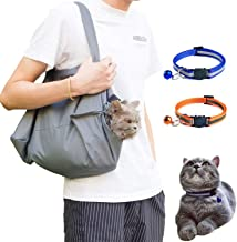 D-buy Cat Carrier Sling, Dog and Cat Carrier Shoulder Bag with 2 Reflective Cat Collars with Bell, Puppy Cat Carrier and Grooming Bag for Outdoor Travel, Car Travel and Pet Grooming