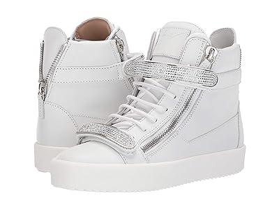 Giuseppe Zanotti Coby Crystal Dual Strap High Top Sneaker (Bianco) Women