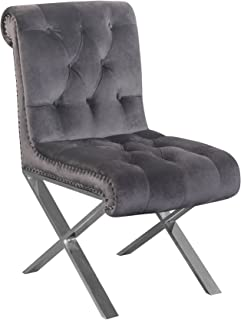 Pangea Home Z DC SLVR (Set of 2) Claire Dining Chair in Velvet, Silver