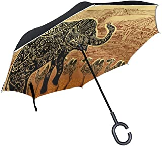 Ladninag Halloween Night Forest Wolf Inverted Umbrella, Large Double Layer Outdoor Rain Sun Car Reversible Umbrella